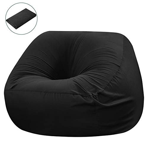 CHUN YI Spandex Bean Bag Chair Cover(No Filler), Stuffed Storage Bird's Nest Slipcover with Zipper for Toy and Others Extra Large Seat Coat(Black), Small