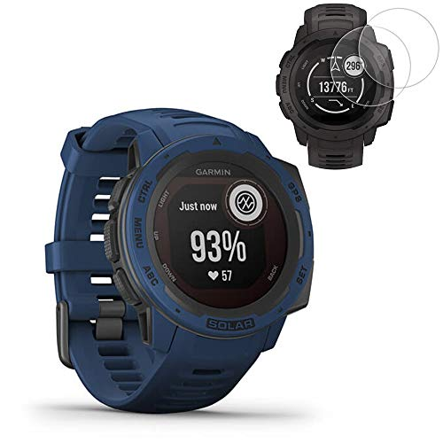 Garmin Instinct Solar GPS Smartwatch - Tidal Blue(010-02293-11) w/ 2X Screen Protectors