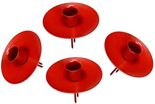 Pommerntraum - 4-er Set - ROTE Kerzen-Halter | Kranzstecker | Kerzen-Stecker | Adventskranzstecker für Teelichtaufsätze + Stabkerzen