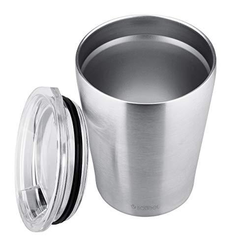 Isosteel VA-ME1025 to-Go Becher Slim 0,25 Liter Vakuum-Isolierbecher, Festschließender Deckel mit Trinköffnung, 18/8 Edelstahl, BPA frei