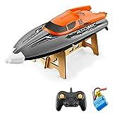 GoolRC Barco RC Control Remoto Barco 30KM / H IPV7 de Alta Velocidad Impermeable 2.4GHz Barco de Carreras de 4 Canales para niños Adultos (Naranja, 1 Batería)