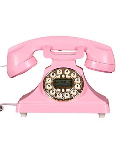 FHISD Teléfono Antiguo Madera Vintage 60s Moda Teléfono con Cable Teléfono Disco Giratorio Antiguo Vintage Teléfono Fijo Oficina en casa Identificación de Llamadas Teléfonos fijos