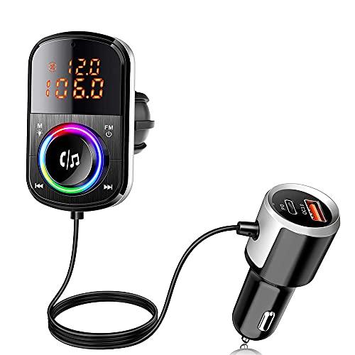 LVYE1 MRMF Bluetooth Transmisor FM para Coche, Carga Rapida Radio De Coche Adaptador De Audio con 2 USB QC3.0 PD18W, Reproductor De Mp3 Manos Libres Kit De Coche 9 Modos LED