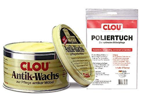 Clou Antik Wachs Möbelwachs: aus natürlichen Bienenwachs farblos 375 ml mit Poliertuch