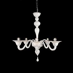 Genova - Lámpara de techo de cristal de Murano con 5 luces blancas