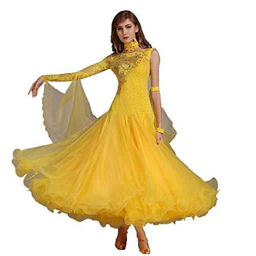 Vestidos De Baile De Conjunto De Baile Manga Larga Suave Vals Tango Gran Oscilacin Vestidos De Competicin Disfraz De Rendimiento (Color : Yellow, Size : S)