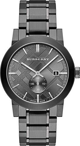 Swiss Gunmetal Black Darkgray Date Dial 42mm Men Stainless Steel Wrist Watch The City BU9902