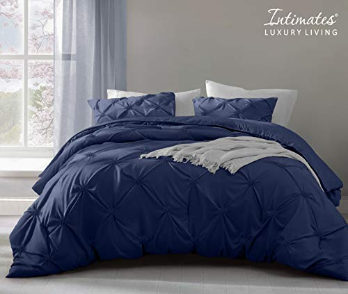Pinch Pleated Pintuck Comforter Duvet Cover with Pillowcase Bedding Set Soft Cotton Rich (Navy, Double Bed)