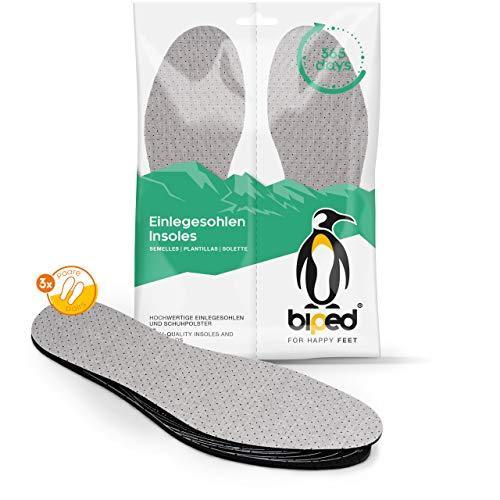 biped 3 Paar Aktivkohle Latex Einlegesohlen Größe 32-46 - zum Zuschneiden - zur Klimaregulierung, für hygienisch frische Schuhe und Füße z2724