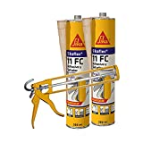 Lote 2 cartuchos Masilla adhesivo multiusos Sikaflex 11 FC Purform Beige, 300ml con 1 pistola de aplicación, interiores y exteriores