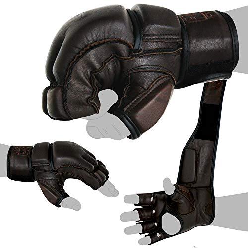 FOX-FIGHT Legend MMA Handschuhe professionelle hochwertige Qualität echtes Leder Boxhandschuhe Sandsack Training Grappling Sparring Kickbox Freefight Kampfsport BJJ Gloves braun, M