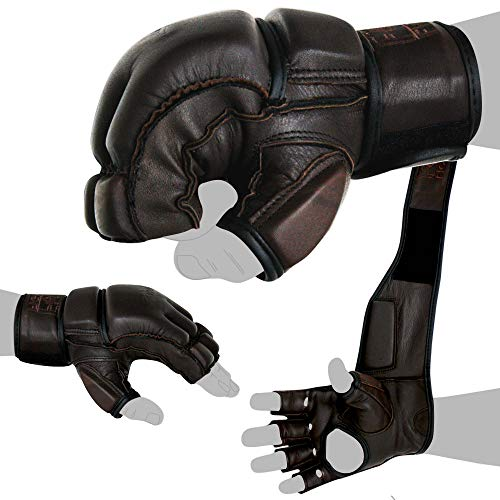 FOX-FIGHT Legend MMA Handschuhe professionelle hochwertige Qualität echtes Leder Boxhandschuhe Sandsack Training Grappling Sparring Kickbox Freefight Kampfsport BJJ Gloves braun, M