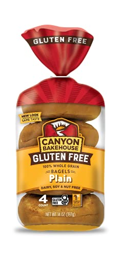 Canyon Bakehouse Gluten Free Bagels, Plain Bagels, 14 Ounce (Pack of 3)