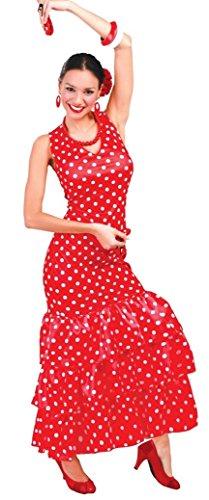 Fancy Me Damen Sexy Flamenco Tänzer rot/weiß gepunktet Spanisch International Kostüm Kleid Outfit 12-14 - Rot, Rot, UK 12-14