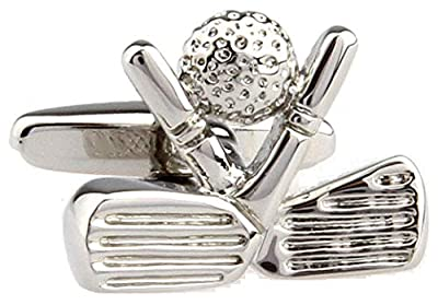 MRCUFF Golf Ball and Clubs Heads Pair Cufflinks in a Presentation Gift Box & Polishing Cloth