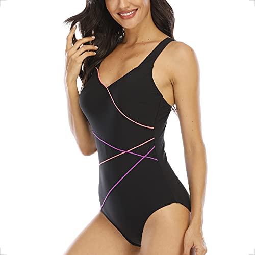 WIN.MAX Badeanzug Damen Sportlicher Einteiler Schwimmanzug mit Polsterung(LRP,DE36)