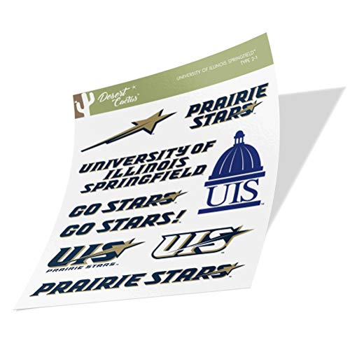 University of Illinois Springfield UIS Prairie Stars NCAA Sticker Vinyl Decal Laptop Water Bottle Car Scrapbook (Type 2 Sheet)