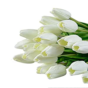Artificial Tulips Flowers Fake Colorful Tulip Stems – 10pcs Real Touch Flower for Easter Spring Wedding Bouquet Centerpiece Floral Arrangement Cemetery Table Decor (White)