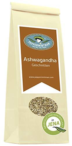 """PEPPERMINTMAN Ashwagandha – Die """"Superfood-Energy-Relax-Liebes-Pflanze"""" ist sehr beliebt als Tee für Ausgeglichenheit und Energie - 120g Papiertüte"""