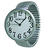 Fashion Watch Wholesale Geneva Super Large Stretch Watch Clear Number Easy Read (Brushed Silver)