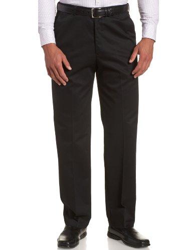 Haggar Men's Work To Weekend Hidden Expandable Waist No Iron Plain Front Pant, Black, 38Wx29L