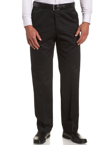 Haggar Men's Work to Weekend Hidden Expandable Waist No Iron Plain Front Pant (Black, 29W x 30L)