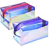 Makeup Bag, F-color 2 Pack Large Holographic Makeup Bag, Fashion Travel Cosmetic Bag Organizer Toiletry Bag for Women