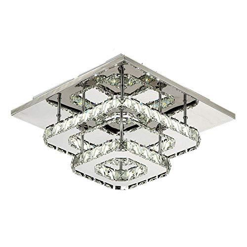 LED de Luz de Techo, Lámparas de Cristal, Acero inoxidable Cristal Lámpara Montaje en el techo para el dormitorio Comedor Pasillo(blanca fría) (Doble capa)