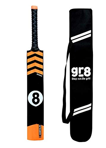 gr8 Rhino Kashmir Willow (Full Size) Tennis Ball Cricket Bat with Cover for Heavy Tennis Balls with Cover. for Age 15+ Years or Height 5.5 Feet and Above. (1050-1100) GMS