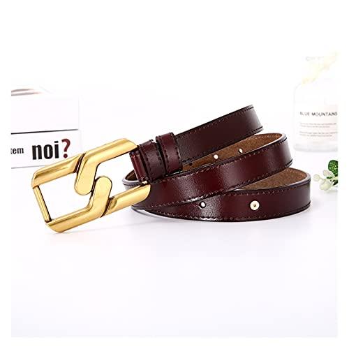 XIN NA RUI Cinturón para mujer, cinturón de piel auténtica con hebilla geométrica de metal, para mujer (color marrón oscuro, tamaño: 105 cm)
