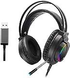 MZZYP 7.1 Auriculares luminosos RGB coloridos, auriculares para...