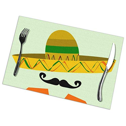 Eliuji Placemats Place Mats Placemats Groene Mexicaanse Spaanse Man Sombrero en Grote Snor Rood