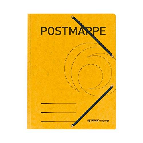 herlitz 11255593 Einschlagmappe A4 mit Gummizug, Postmappe, gelb, 1 Stück