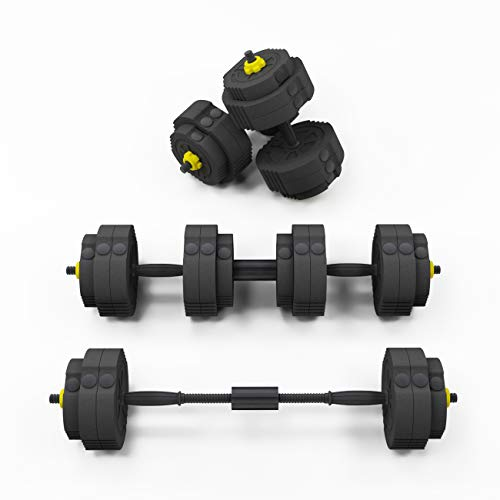 SogesHome Dumbbells Adjustable Dumbbell Pair Dumbbells Sets, Adjustable Weight Sets up to 55lbs, with Connecting Rod Convert to Barbell, Iron Sand Mixture and Octagon Shape, NSDUS-YZWD001-25