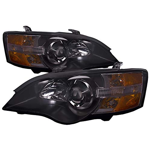 PERDE Black Housing Halogen Headlights Compatible with Subaru Legacy And Outback 2005-2007 Includes Left Driver and Right Passenger Side Headlamps With Performance Lens