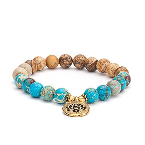 Mala Armband, Landschaftsstein (Jaspis) & blauer Imperial Türkis, mit Lotus-Charm, Gr. M, nicht nur für Yoga Fans