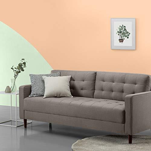 Zinus Benton Sofá Tapizado de estilo mediados de siglo ,color Gris Piedra de 194x78x86 cm