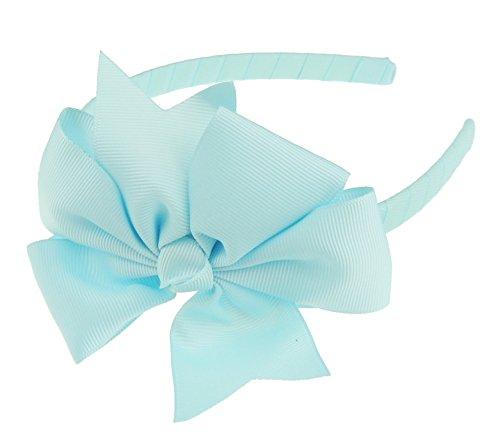 Mädchen Party Schule große Grosgrain Ribbon Bow 1cm Stirnband Alice Band Gabel Baby Blue