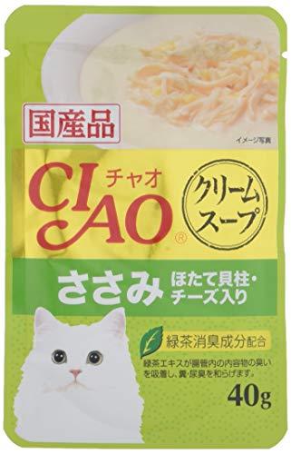 チャオ (CIAO) キャットフード クリームスープ ささみ ほたて貝柱・チーズ入り 40グラム (x 16) (まとめ買い)