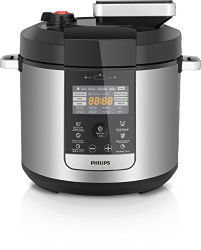 Philips Premium Collection All In One Multi Cooker/Pressure Cooker/Slow Cooker with 2 Non-Stick Inner Pots, 6L, 1000W, HD2178/72