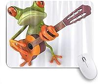 PATINISAマウスパッド ギターを弾く面白いカエル ゲーミング オフィス最適 高級感 おしゃれ 防水 耐久性が良い 滑り止めゴム底 ゲーミングなど適用 マウス 用ノートブックコンピュータマウスマット