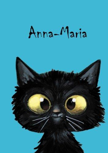 Anna-Maria: Personalisiertes Notizbuch, DIN A5, 80 blanko Seiten mit kleiner Katze auf jeder rechten unteren Seite. Durch Vornamen auf dem Cover, eine ... Coverfinish. Über 2500 Namen bereits verf