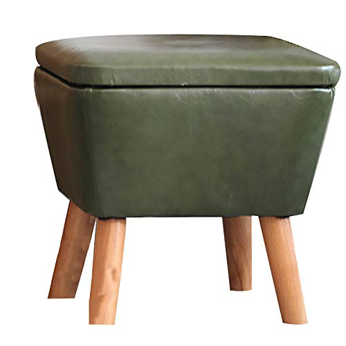 LI MING SHOP Taburete De Almacenamiento En Forma De Cubo Material De Madera De Haya Cuero Verde...