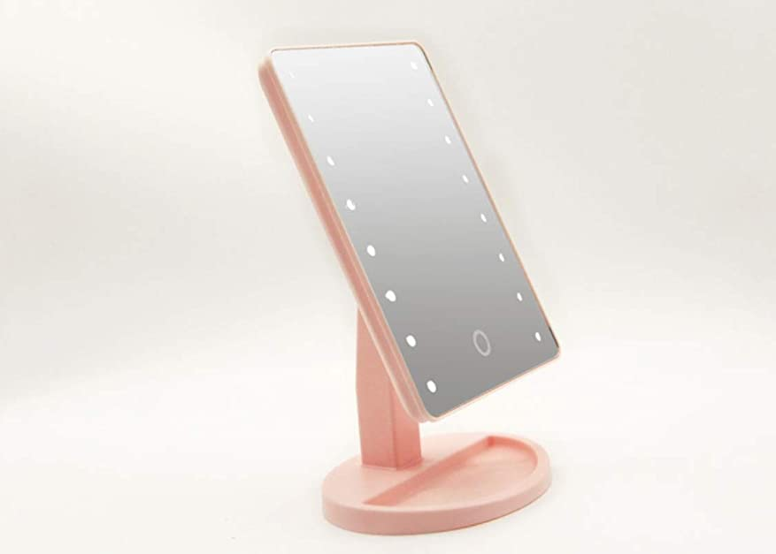 合意反対したコール[CHOOSE FREELY.]鏡 卓上 ライト付き 可愛い ミラー 化粧鏡 女優ミラー 人気 明るい LED付き 明るさ調整可能 電池&USB 2WAY給電 180°回転 ギフト 誕生日 プレゼント (ピンク)