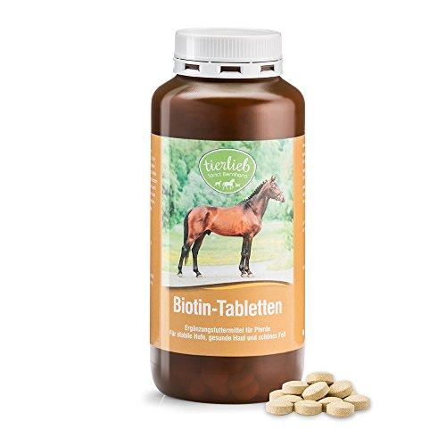 tierlieb Biotin-Tabletten Ergänzungsfuttermittel für Pferde für Hufe, Haut, Fell, Inhalt 500 Tabletten