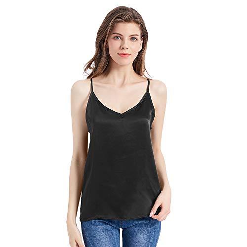 Mommesilk Top Mujer Tirantes Ajustables Camiseta Tirante para Niña Camisa Tirante Básico 100% Seda de Mora Natural de 16 Momme