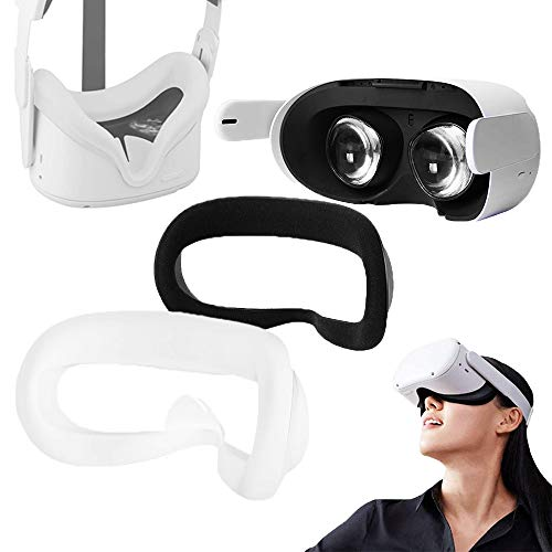 VR Cover Accessories for Oculus Quest 2 , Silicone Face Cover for Long Time, Sweat Proof, Protect Face Skin, Anti Skid, Easy to Clean and Anti-Light Leakage (White)