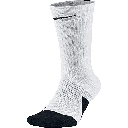 NIKE Unisex Dry Elite 1.5 Crew Basketball Socks (1 Pair), White/Black/Black, Large