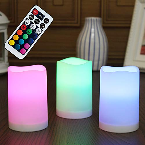 WRalwaysLX Flameless Plastic Pillar Candles Outdoor and Indoor Decorative, Color Changing LED Flickering Candles with Remote Control and Timer, Set of 3, 2.5D X4H by 3AAA Batteries( not Included)