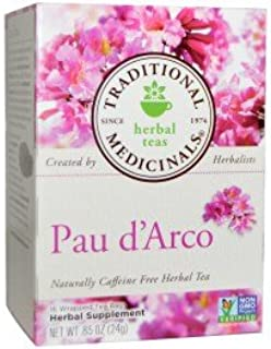 Traditional Medicinals, Pau d'Arco, Naturally Caffeine Free Herbal Tea, 16 Wrapped Tea Bags, .85 oz (24 g)(pack of 3)